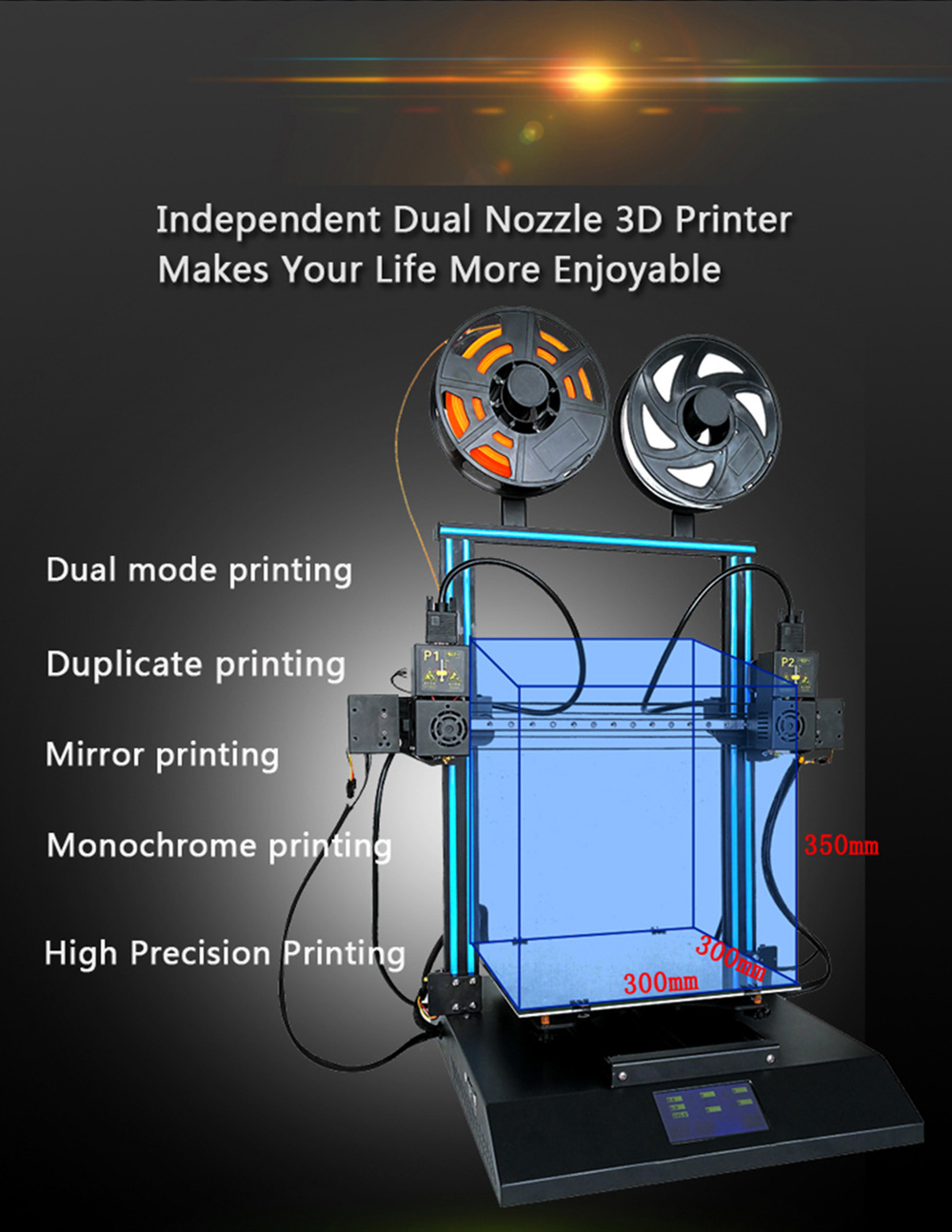 Ugello doppio indipendente TenBox TL - D3 Pro 3D Printer- Nero Spina USA (3 pin)