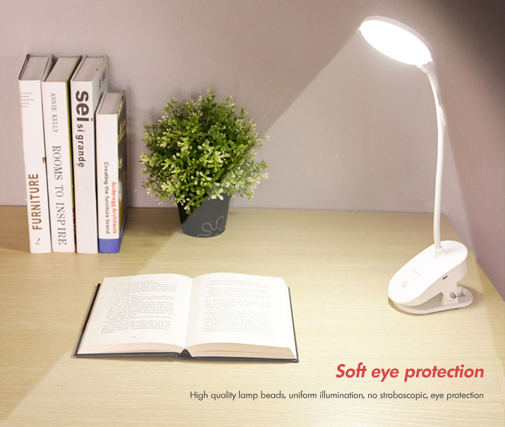USB Rechargeable Clip LED Table Lamp Dimmable Touch Eye Protection- White