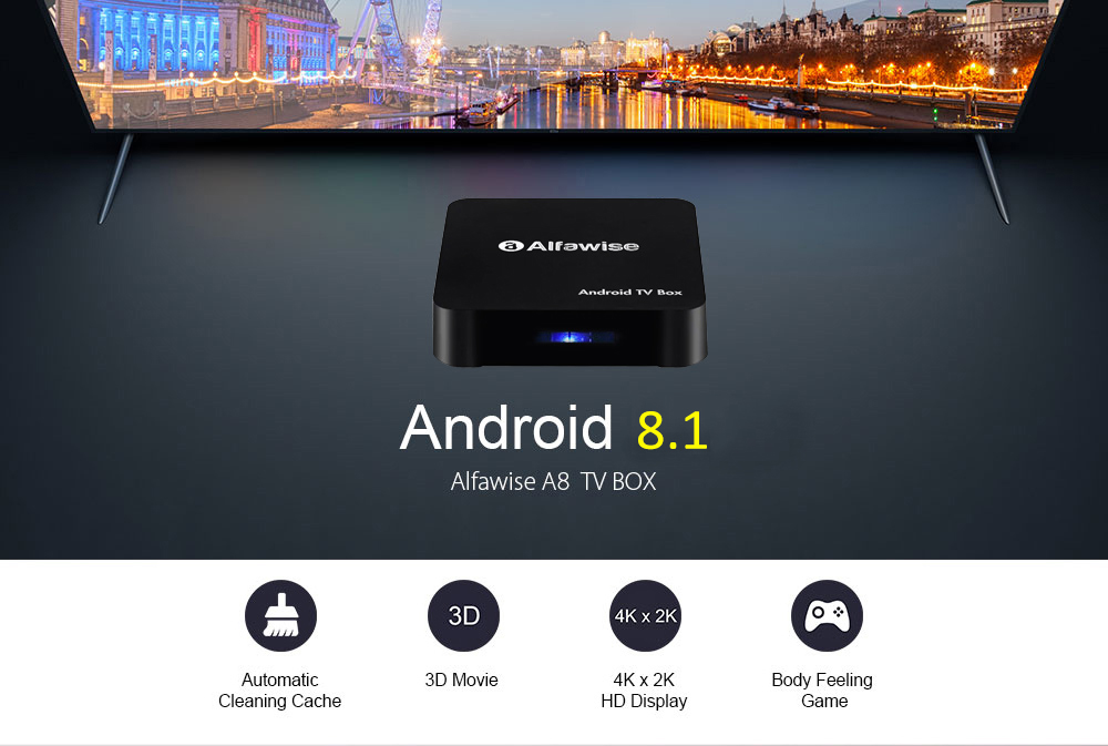 A8 TV BOX Rockchip 3229 Android 8.1 - Black 2GB RAM + 16GB ROM- Black 2GB RAM+16 ROM US Plug Android 8.1