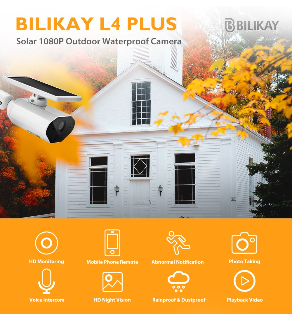 Bilikay L4 Plus Solar Outdoor Wire free 1080P Low Power Camera Milk White
