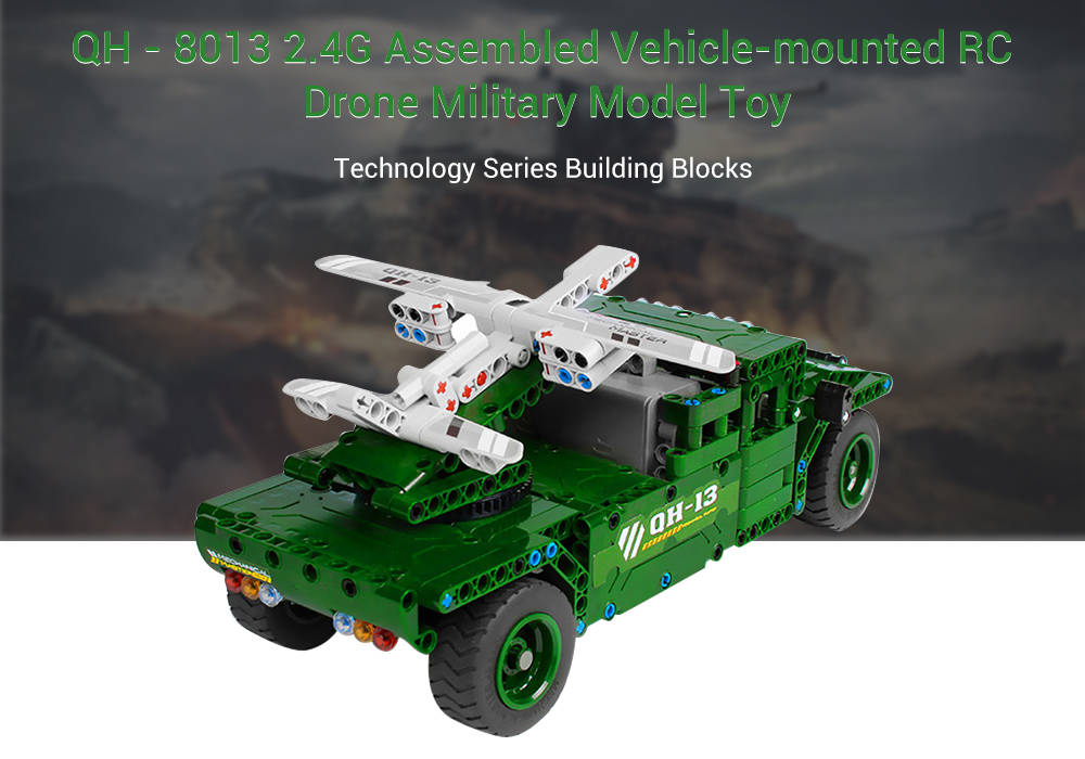 QH - 8013 Technology Series 2.4G Electric Remote Control Assembled Toy 506PCS- Green