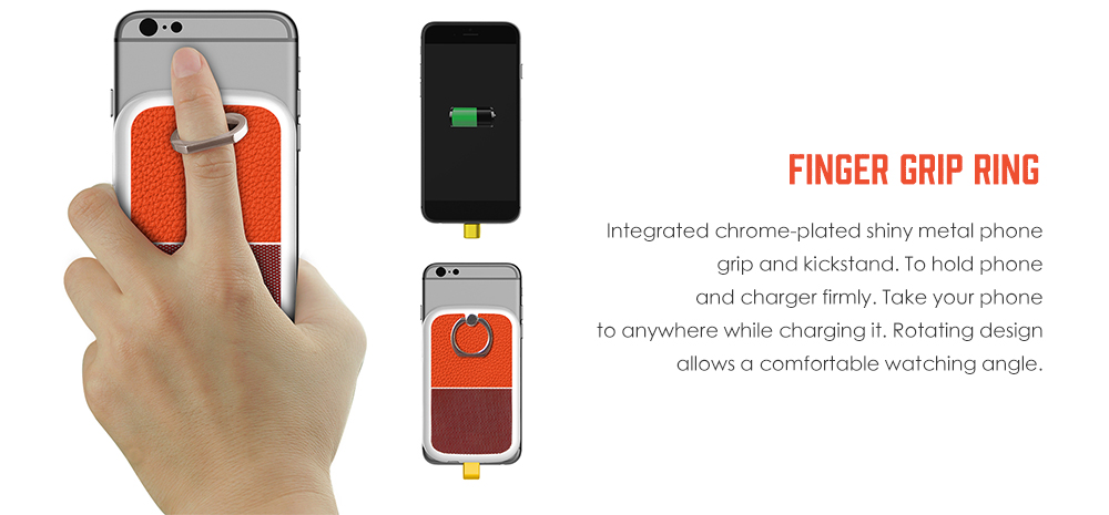 Ultra Slim Backup Wireless Charger Attachable Battery Case with Type-C Charging Cable Finger Grip Ring- Orange