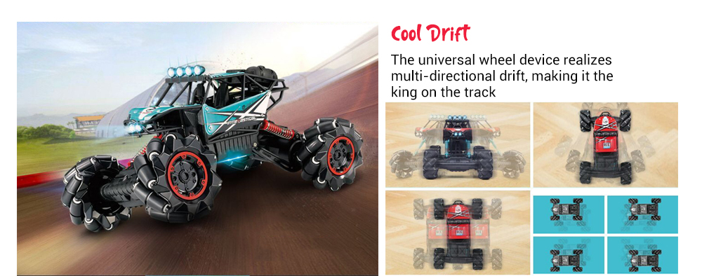 338 - 1 2.4G 4DW Monster Truck - RTR Dazzles Dance / Cool Drift / Auto Demo- Red