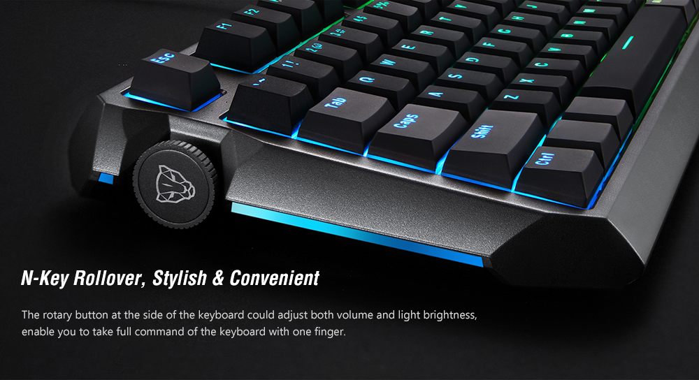 MOTOSPEED CK80 Wired Mechanical Gaming Keyboard RGB Backlight PBT Keycap All Key Anti-Ghost - Black Gold Switch ( Blue Switch )
