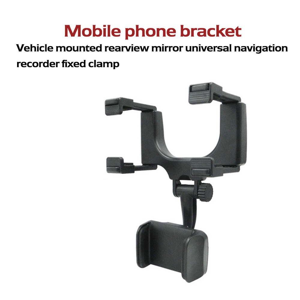 360 Degree Rotation / ABS Durable Material / Stable Performance Car Rearview Mirror Mobile Phone Holder Navigation Bracket - Black