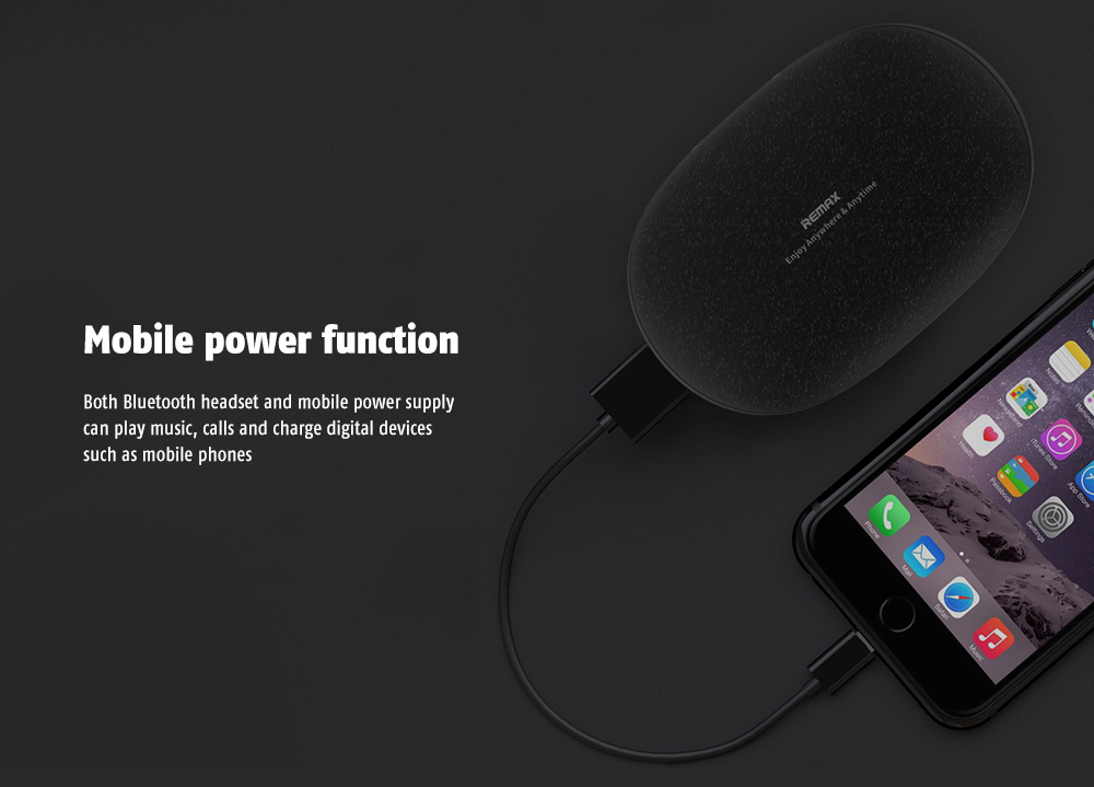 REMAX TWS - 3 Power Bank Function / Magnetic Contact Design Binaural Noise Reduction Stereo Earbud- Black