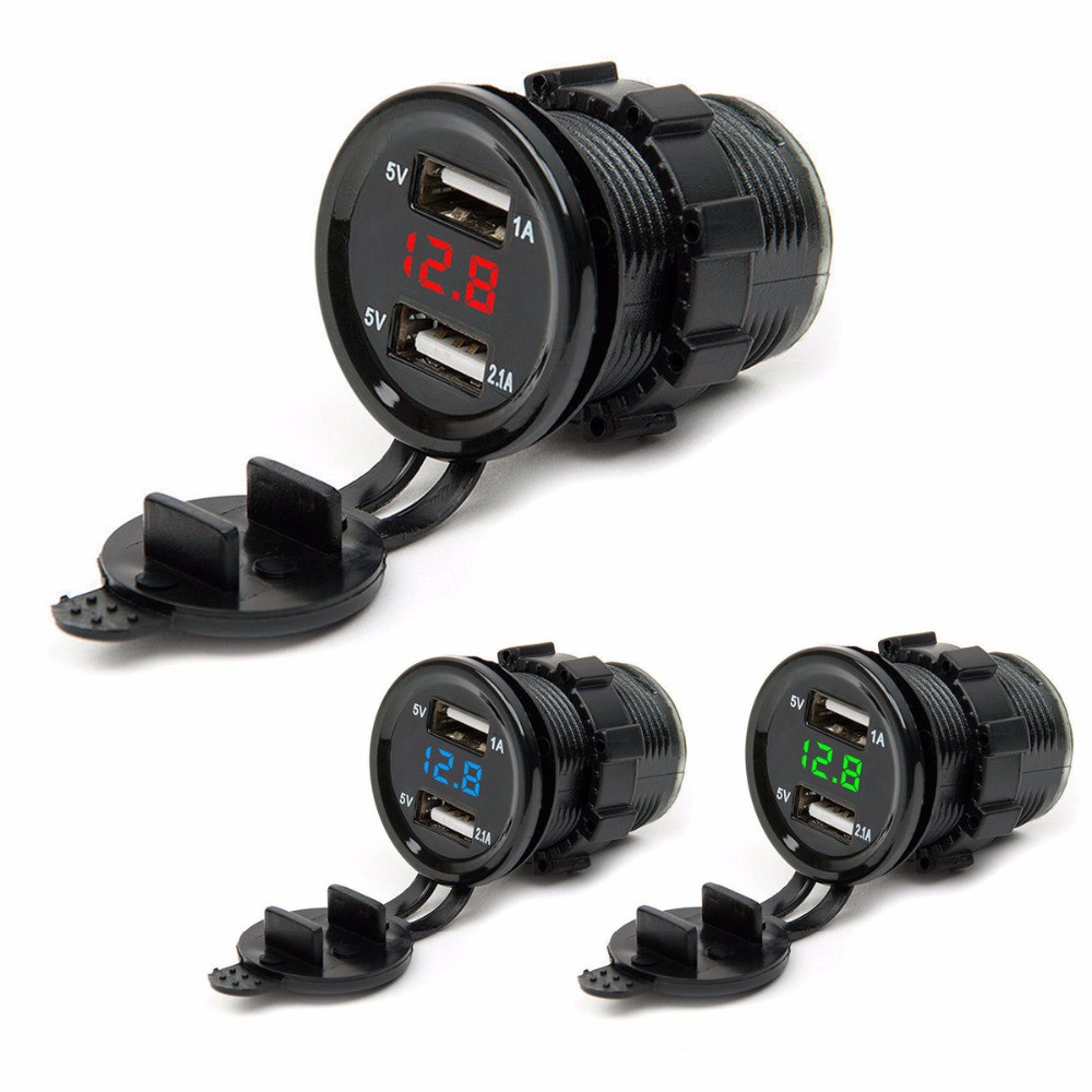 3 in 1 Digital LED USB Car Charger Voltmeter Thermometer Car Battery Monitor um