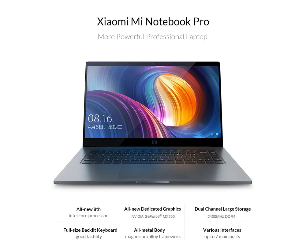 Xiaomi Mi Pro 2019 Laptop 15.6 inch Windows 10 Home Version Intel Core i5 - 8250U Quad Core 1.6GHz CPU 8GB RAM 256GB SSD 1.0MP Front Camera Fingerprint Sensor - Gray
