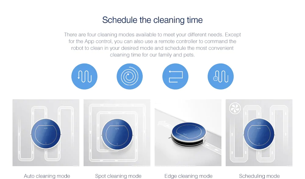 ILIFE V7 Ultra-quiet Smart Sweeping Robot Home Vacuum Cleaner Dust Cleaning with 2600mAh Li-ion Battery ( No App Function )- Blue