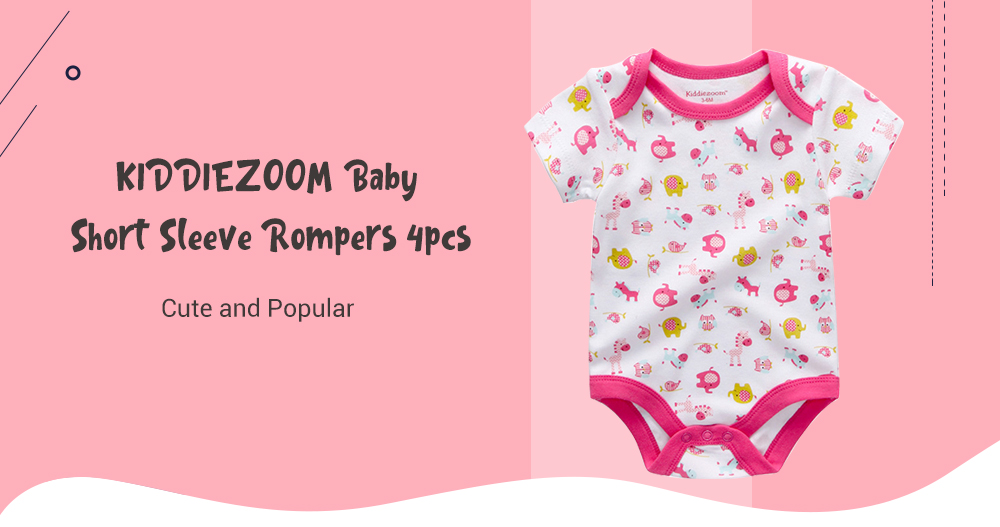 KIDDIEZOOM Baby Rompers 4pcs- Multi-E 3 - 6 Months