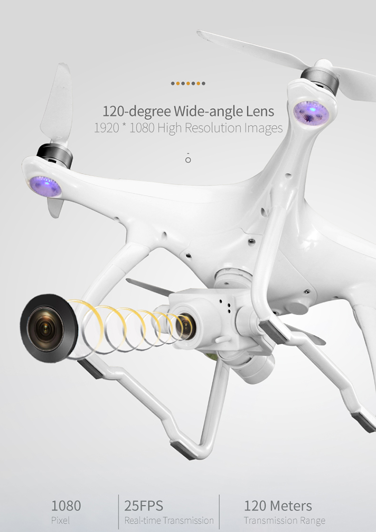 JJRC X6 Aircus GPS RC Drone Two-axis Stabilization PTZ Gimbal 1080P UAV- White 1 Battery