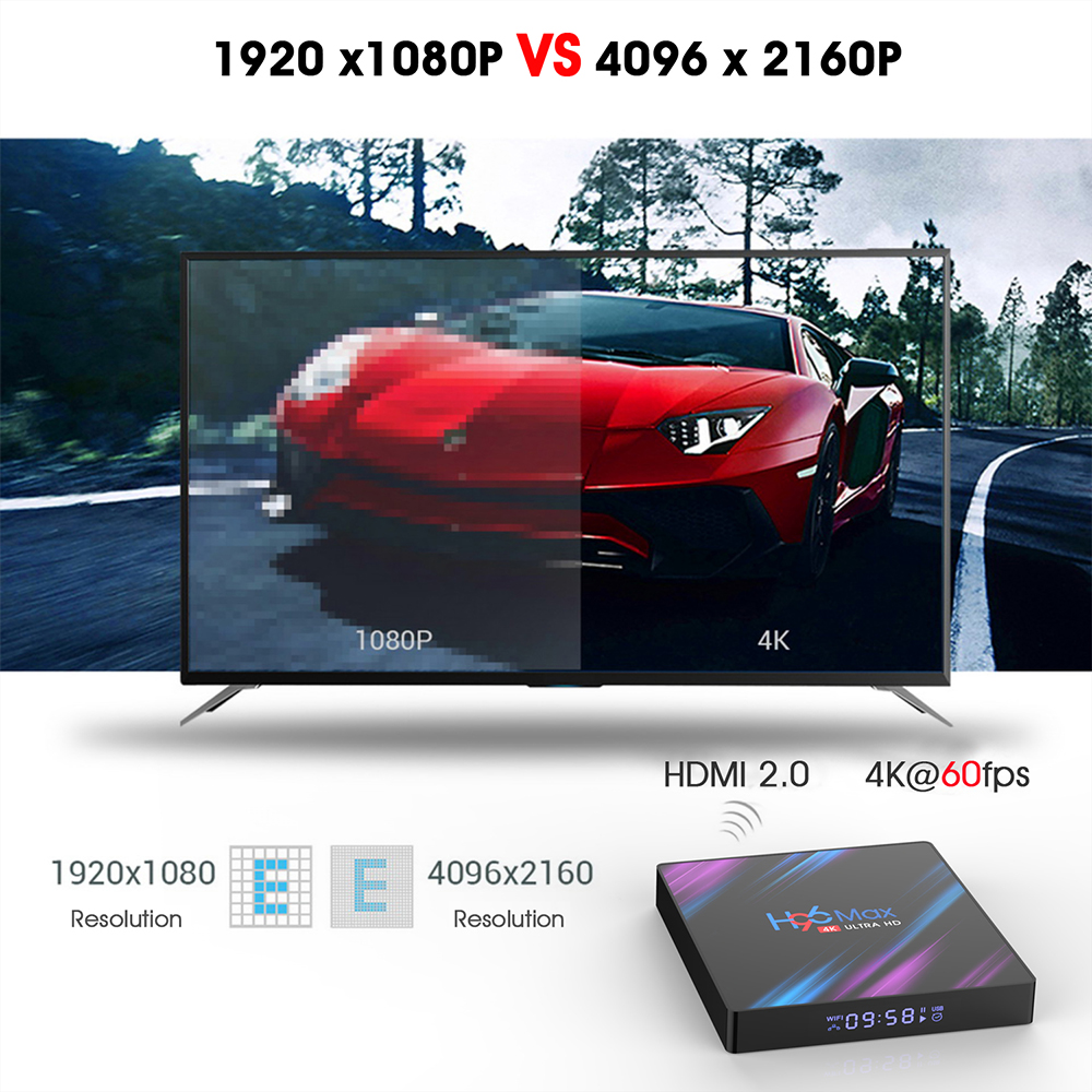H96 Max TV Box Android 9.0- Nero Spina UK GB da 2 GB di RAM + 16 GB