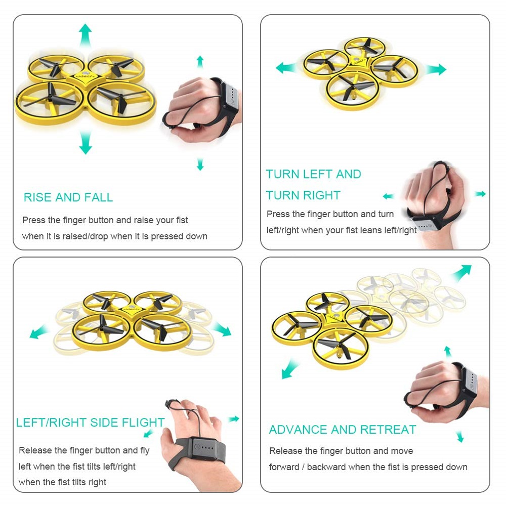 Kids Finger Gesture Control Drones  2.4G Remote Gravity Sensor Control Aircraft- Rubber Ducky Yellow