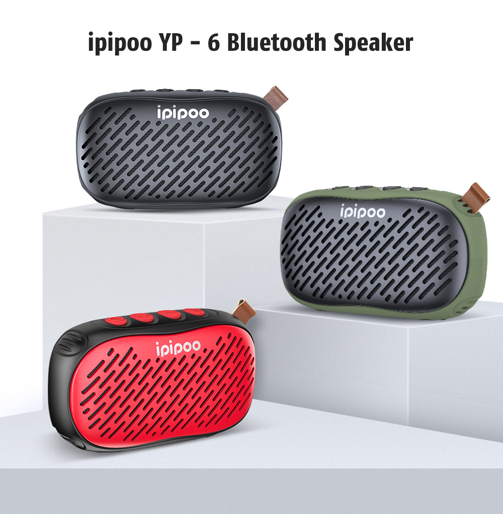 ipipoo YP - 6 Surround Sound / FM Radio / Magnetic Trumpet / IPX5 Waterproof Level / Long Lasting Time Bluetooth Speaker- Red