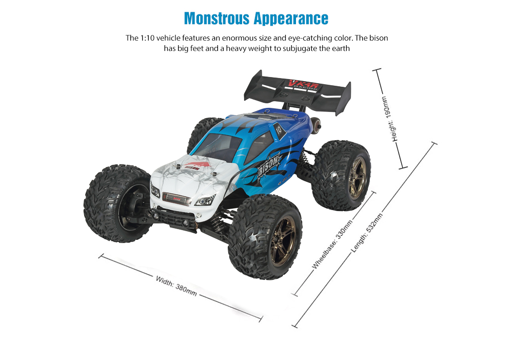 VKAR RACING BISON V3 1:10 4WD Electric RC Off-road Big Truck Brushless RTR 4 Wheel Drive Climbing Car- Blue Double Battery US Plug