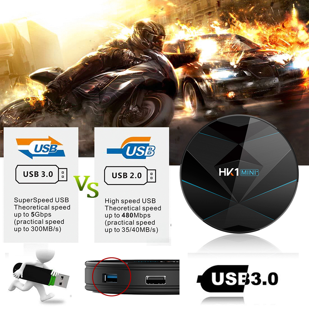 HK1 MINI + TV Box Android 9.0 Rockchip 3318 / 2.4G + 5G WiFi / BT4.0 / 100Mbps / USB3.0 / 4K VP9- Black 2GB RAM+16GB ROM EU plug