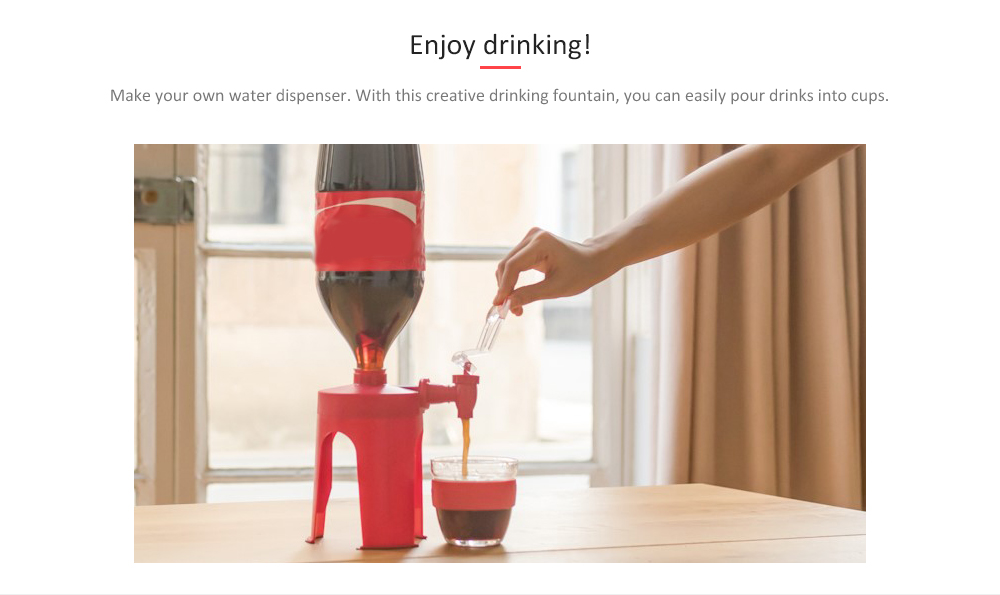Household Heightened Cola Bottle Inverted Drinking Fountain- Red