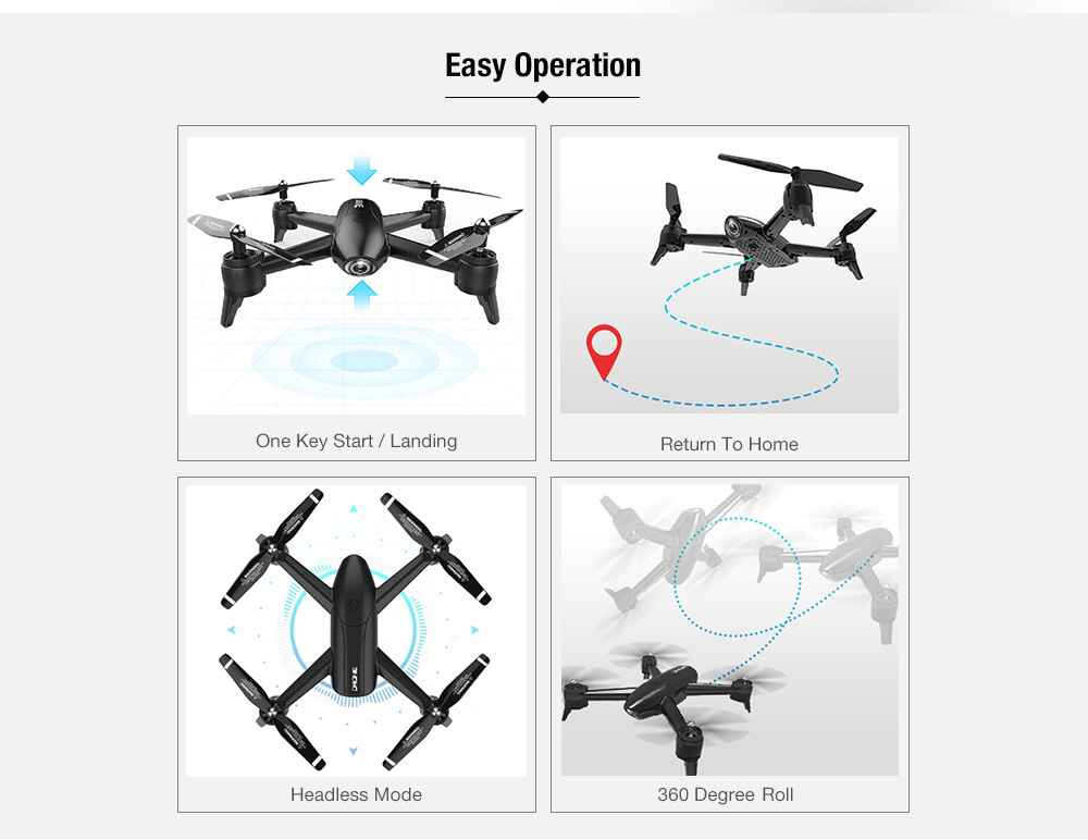 SG106 22mins Flight RC Drone RTF Optical Flow / Altitude Hold UAV- White 4K One Battery