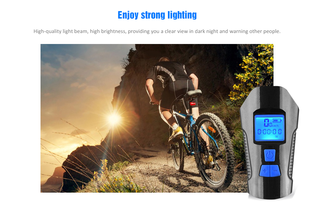 Dricar Bike Computer Wireless Bike Lights Set 4 Light Modes and 6 Bike Bell Modes Bicycle Speedometer Odometer with Backlight LCD Display Waterproof USB Rechargeable Cycling Headlight Front Lights and Back Rear Bike Lights