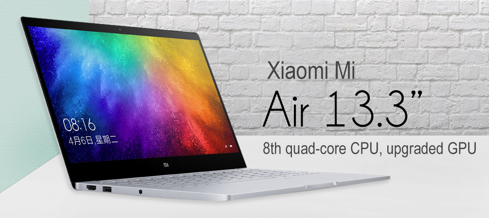 Xiaomi Mi Air 2019 13.3 pouces ordinateur portable Windows 10 Intel Core i5-8250U 1.6GHz 8GB RAM 256GB SSD Capteur d'empreintes digitales Caméra 1.0MP - Gris