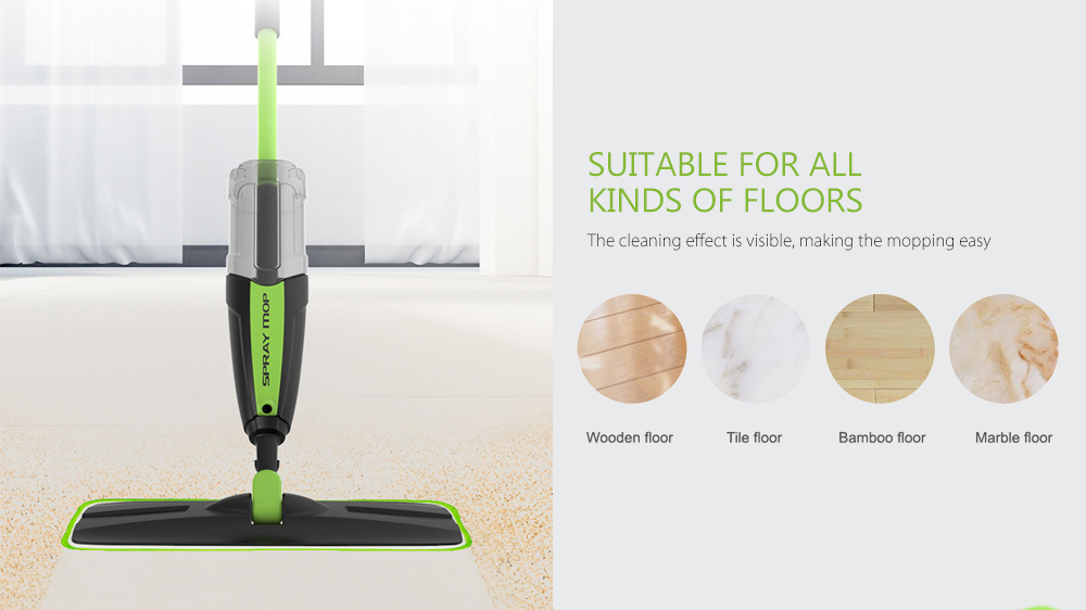 Pooda TB100 Home Wet Dry Dual Use Spray Mop- Clover Green