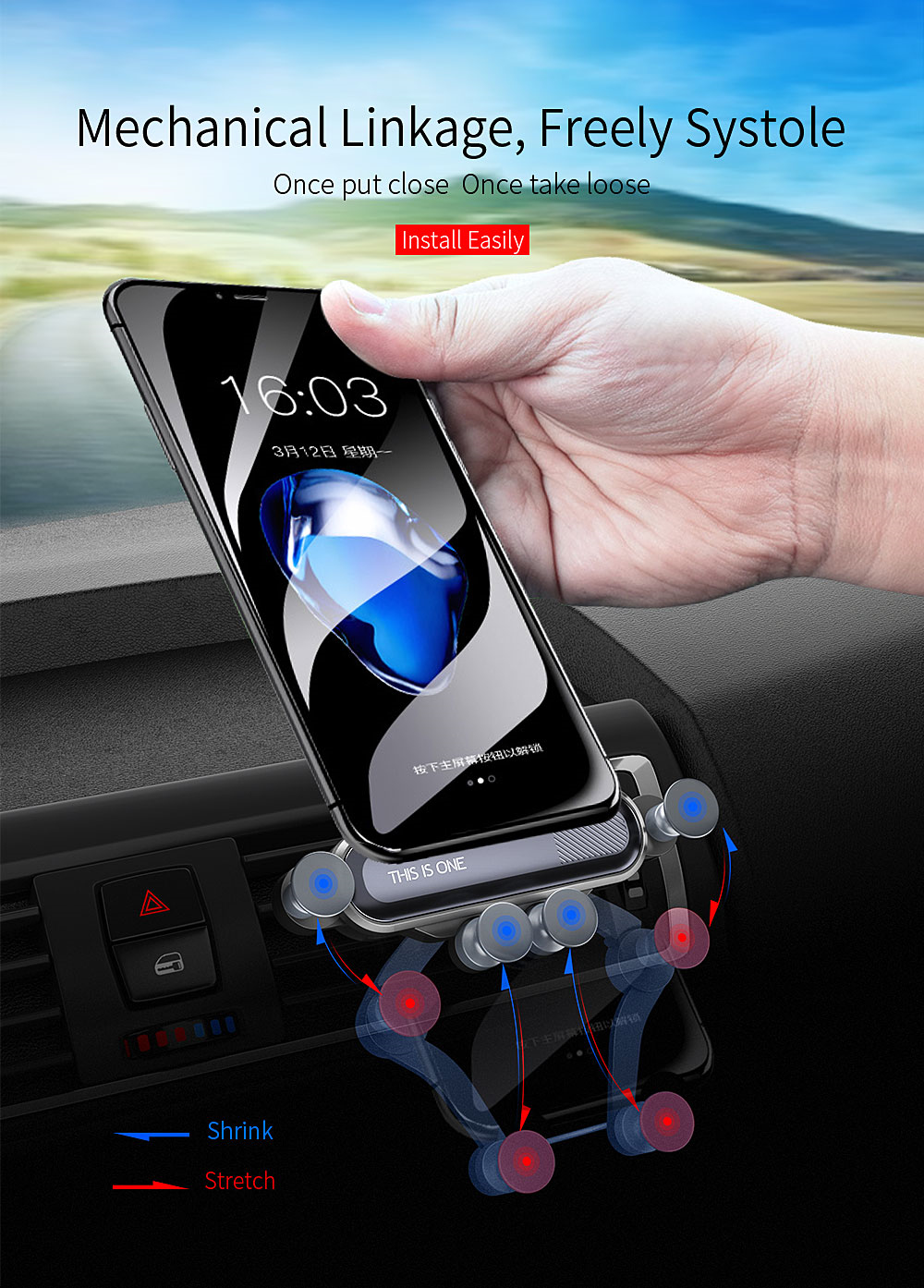 Gravity Car Phone Mount Air Vent Universal Phone Holder- Black