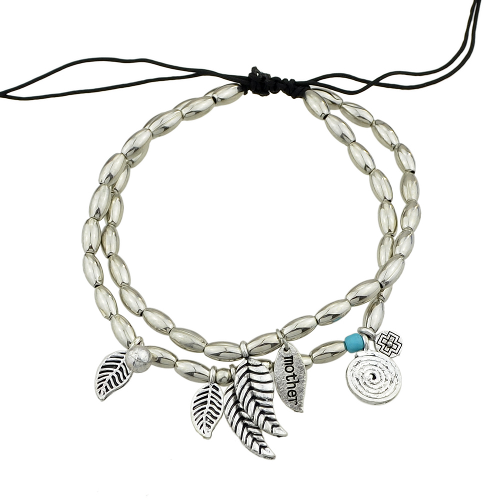 Silver Color Multi Layers Beads Chain With Leaf Anklet 1PC- Silver