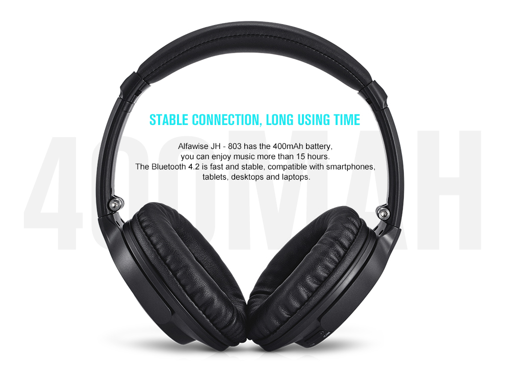 Alfawise JH - 803 Foldable Bluetooth Headset Stereo Gaming Headphones with Mic- Carbon Gray