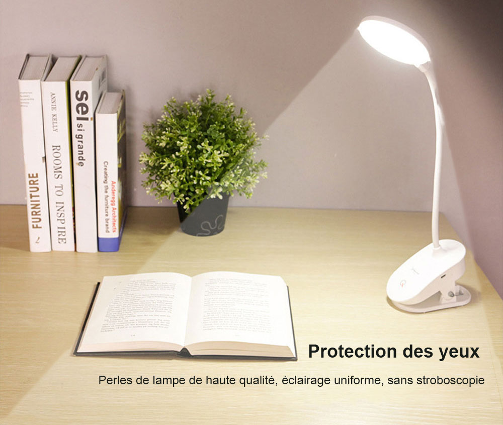Lampe de Table LED à Pince Rechargeable USB Tactile Réglable