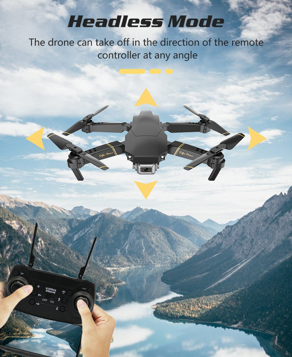 GlobalDrone GD89 Foldable RC Drone - RTF with Gravity Sensing / VR Function- Black 1080P WiFi with optical flow module