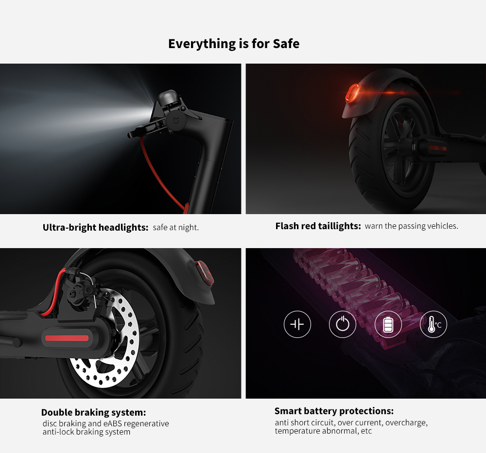 Xiaomi Electric Scooter Pro 12.8Ah Battery 8.5 inch Two Wheels Upgraded LED Display 45km Cruising Distance EU Plug- Black EU Plug