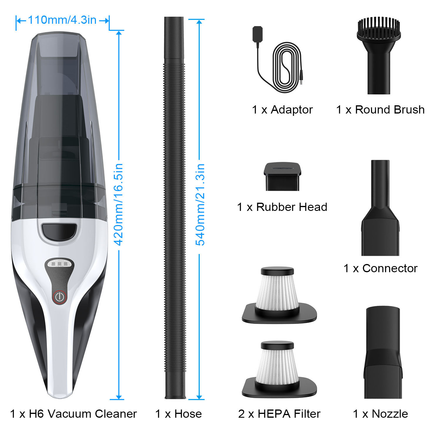Alfawise H6S 14.8V Powerful Suction Portable Vacuum Cleaner for House & Car - Multi-A
