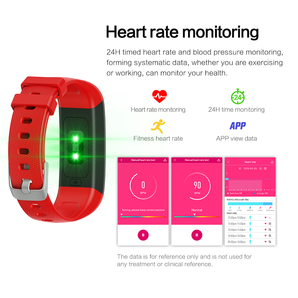 Alfawise I11plus 1.14 inch HD Color Screen / Heart Rate / Blood Pressure Monitoring Sports Smart Bracelet- Red
