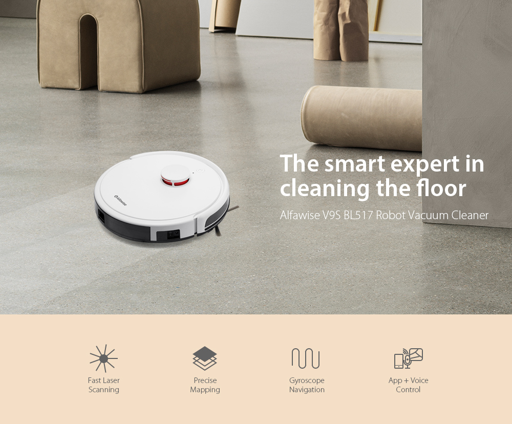 Alfawise V9S BL517 Robot Vacuum Cleaner with Laser Navigation with Smart Mop - White