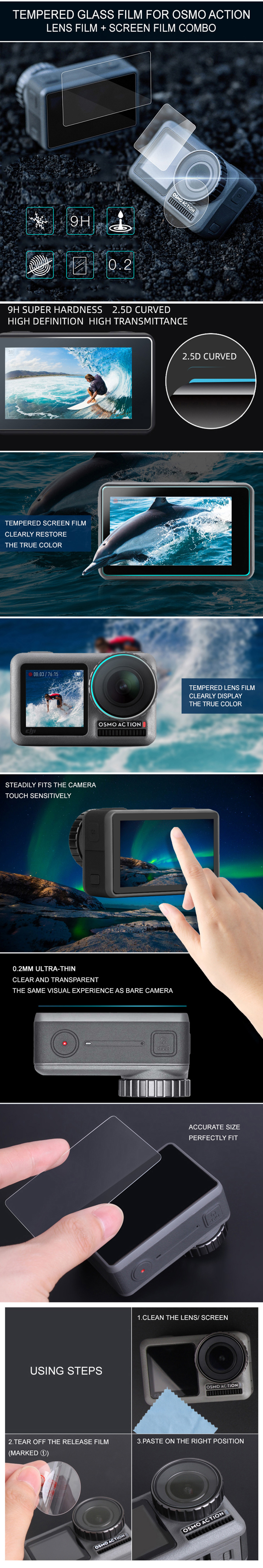 For DJI OSMO Action Sports Camera Ultra HD Screen Protective Lens Film Guard
