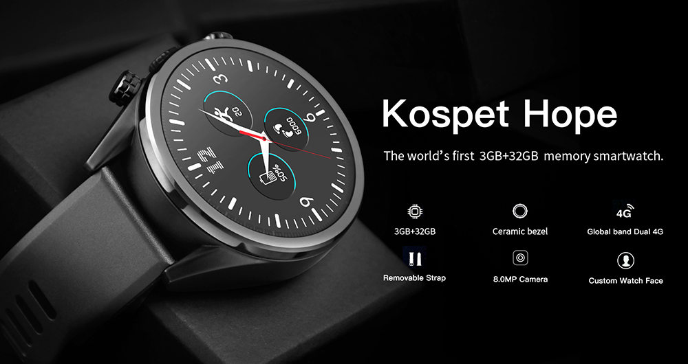 Kospet Hope 4G Smartwatch Phone 1.39 inch Android 7.1 MTK6739 Quad Core 1.25GHz 3GB RAM 32GB ROM 8.0MP Camera 620mAh Built-in - Black