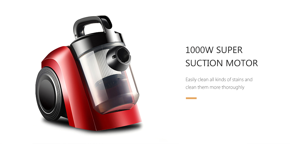 Horizontal Household 1000W High Power Handheld Vacuum Cleaner- Lava Red