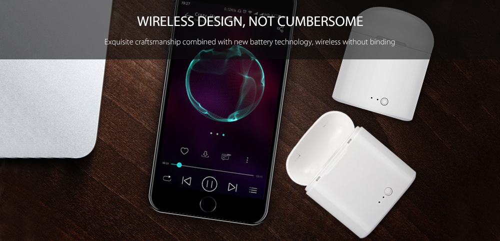i7s Wireless Mini Stereo Earphone Bluetooth Touch Binaural Earbuds with Mic and Charging Dock- White