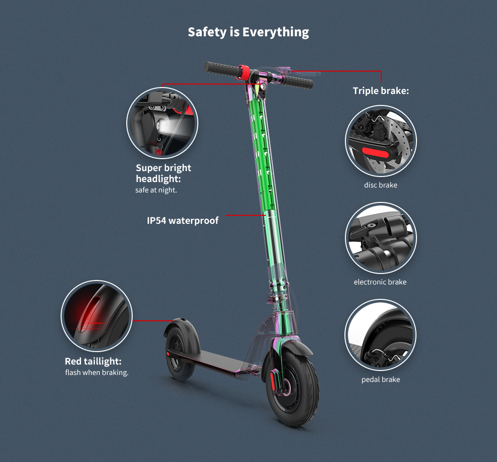 Alfawise X7 Europe Standard Folding Electric Scooter with Removable Charging Battery - Black 5200mAh