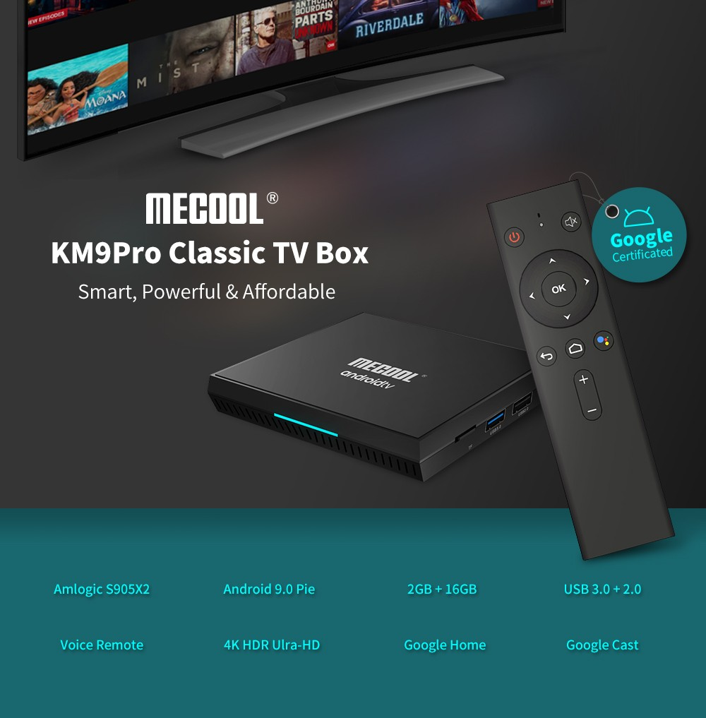 MECOOL KM9Pro Classic Voice Control TV Box Google Certificated Amlogic S905X2 / Android 9.0 ATV / 2GB DDR3 + 16GB EMMC / 100Mbps / BT4.0 / USB3.0 / OTA Update / 4K- Black EU Plug
