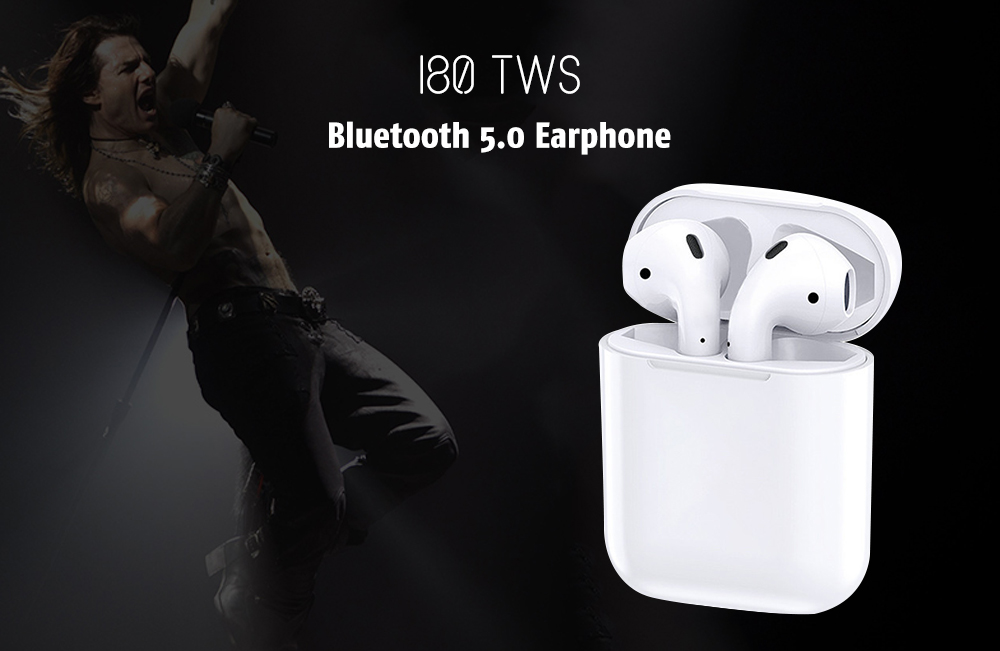 i80 TWS Surround Sound Effect / Noise Canceling / Comfortable Wearing / Support Wireless Charging / Bluetooth 5.0 Earphone - White