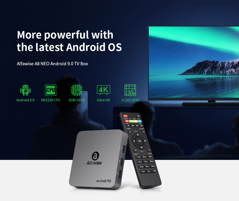 Alfawise A8 NEO Android 9.0 TV Box- Gray EU Plug