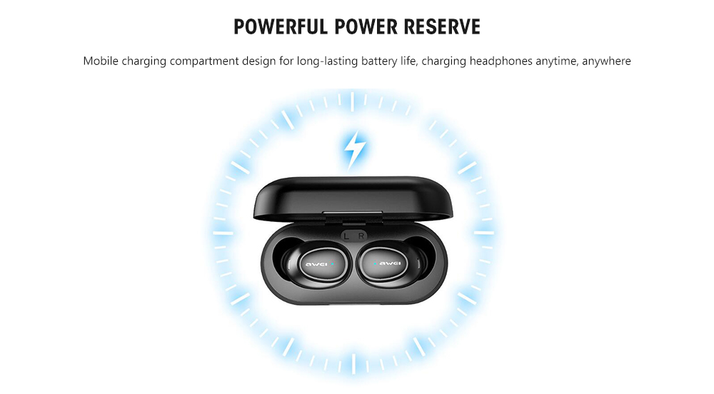 Awei T6 Wireless Mini Stereo Earphone Bluetooth Binaural Earbuds- Black