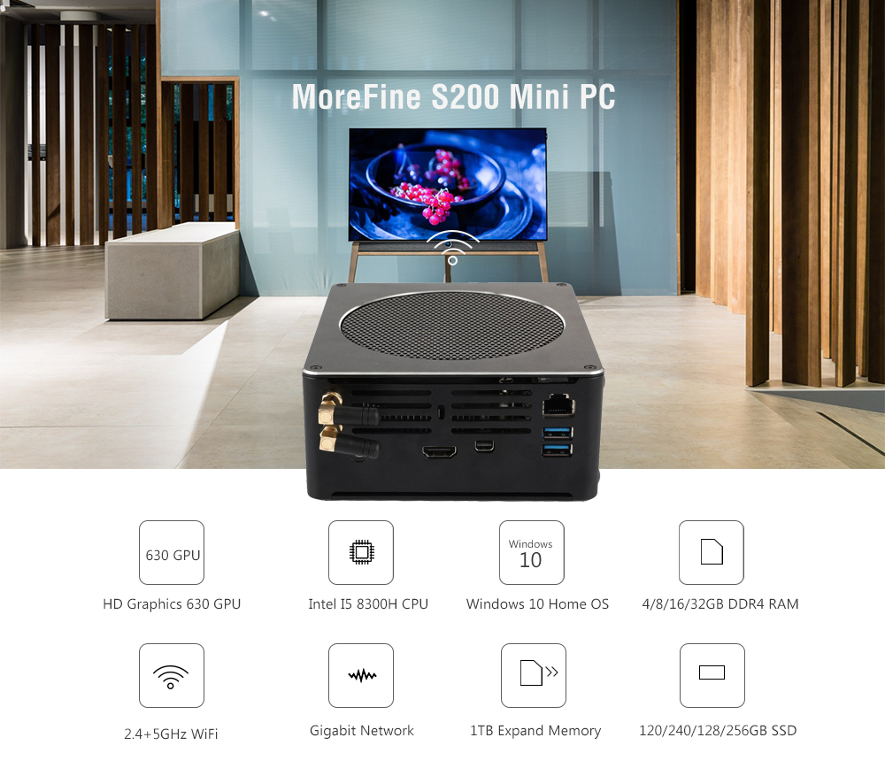 MoreFine S200 Windows 10 Home Office Game Mini PC Intel I5-8300H Intel HD Graphics 630 Expandable 1TB 2.5 inch HDD / SSD 2.4GHz + 5GHz WiFi 1000Mbps 4 x USB3.0 BT4.2 Support 4K 60fps- Black 16GB DDR4+128GB SSD