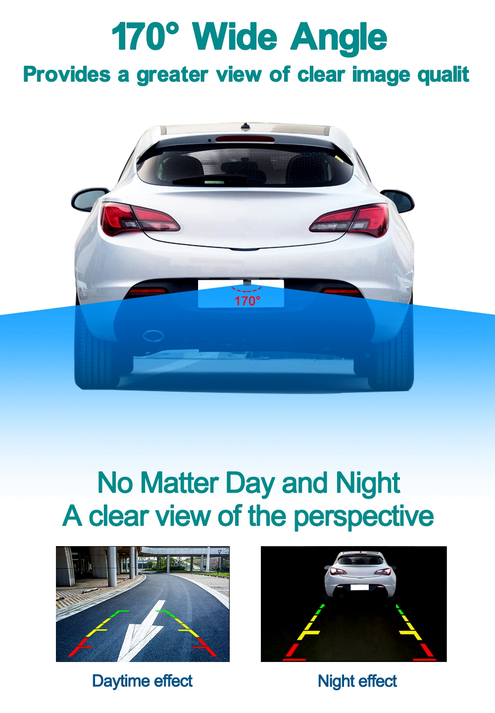 ZIQIAO Universal Night Vision HD Rear View Parking Monitor- Black