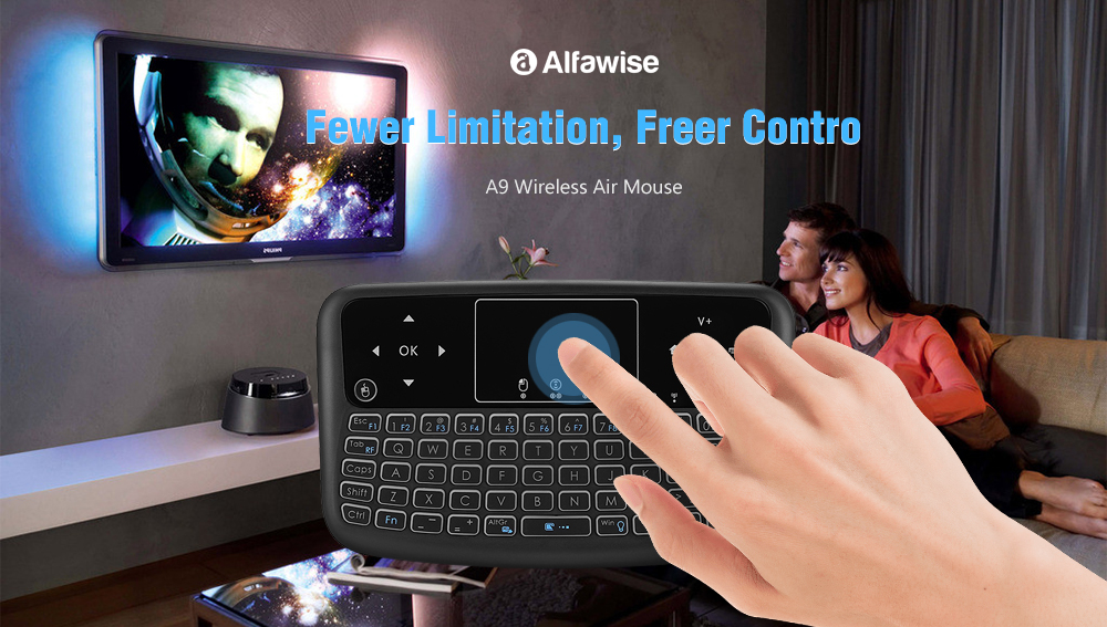 Alfawise A9 New Touch Wireless Keyboard Flying Mouse Remote Control- Multi colorful backlight