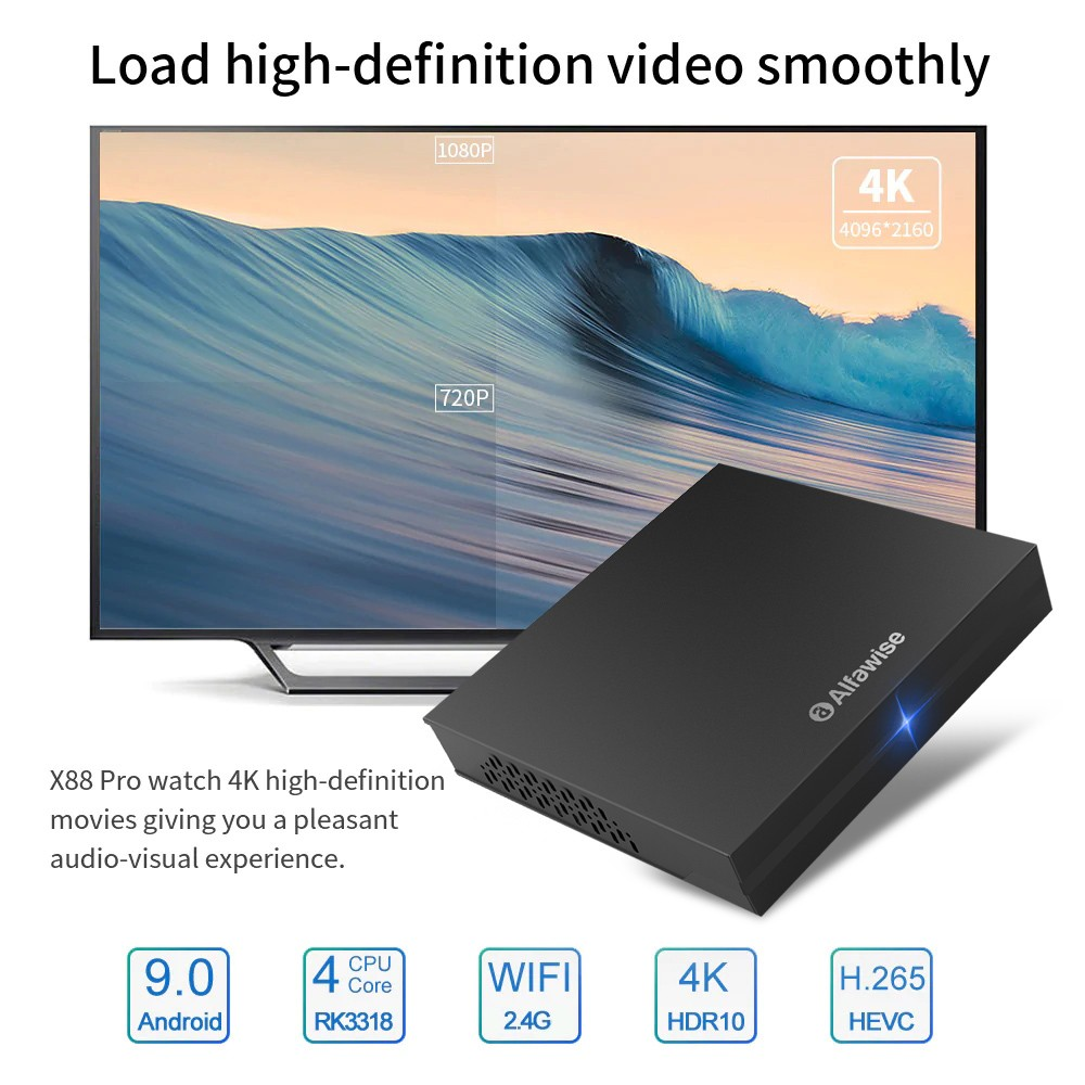 Alfawise A9 Plus 4GB RAM + 32GB ROM Android 9 0 TV Box