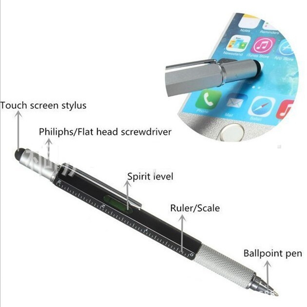 Ballpoint Pen Screwdriver Ruler Spirit Level Multifunction Tool- Black