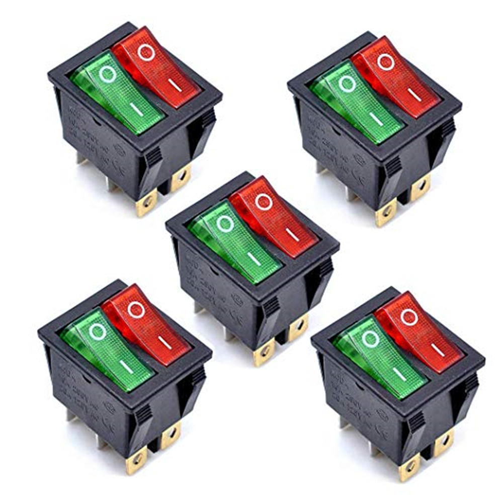 KCD4 AC 250V 16A Black 6P Terminals ON/OFF Double SPST 2 Way Rocker Switch 5Pcs- Multi-A