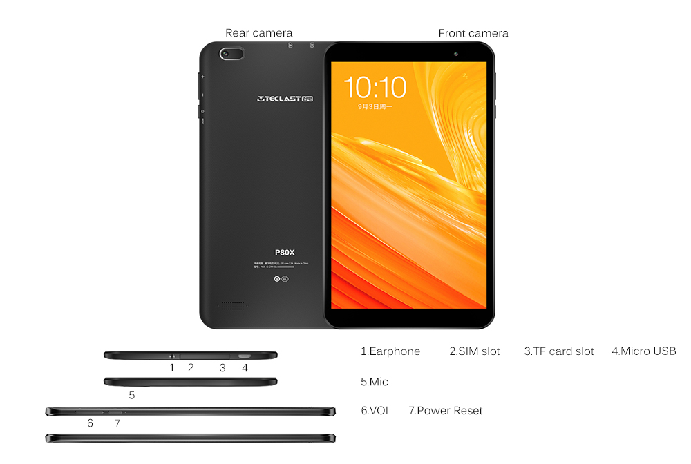 Teclast P80X 8.0 inch 4G Phablet Tablet Android 9.0 OS / Spreadtrum SC9863A 1.6GHz Octa Core CPU / 2GB RAM 16GB ROM / 2.0MP Camera- Black